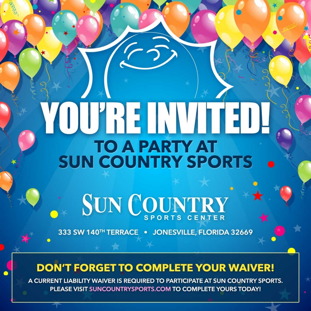 Sun Country Sports – Party Invitations